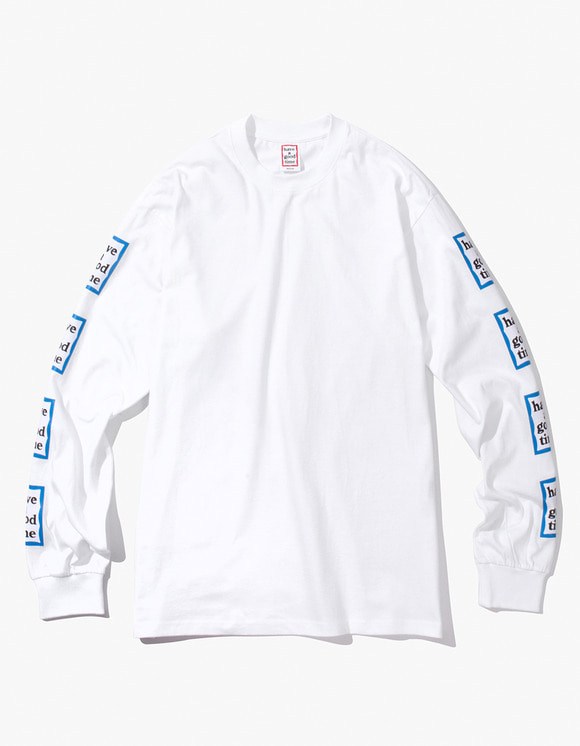 have a good time Blue Arm Frame L/S Tee - White | HEIGHTS. | 하이츠 온라인 스토어