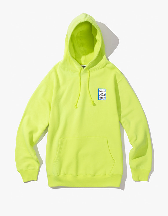 have a good time Mini Blue Frame Pullover Hoodie - Neon Green | HEIGHTS. | 하이츠 온라인 스토어