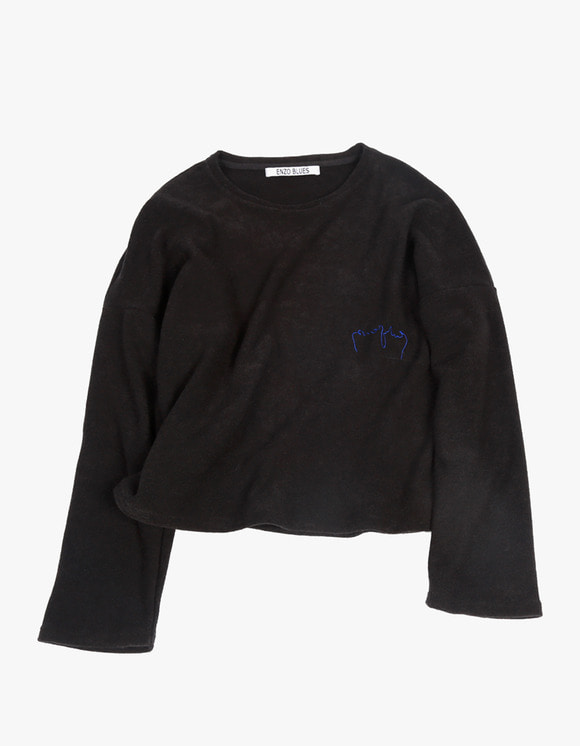 ENZO BLUES Cropped Terry Sweater - Black | HEIGHTS. Online Store