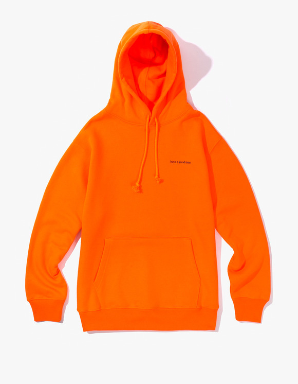 have a good time Side Logo Pullover Hoodie - Neon Orange | HEIGHTS. | 하이츠 온라인 스토어
