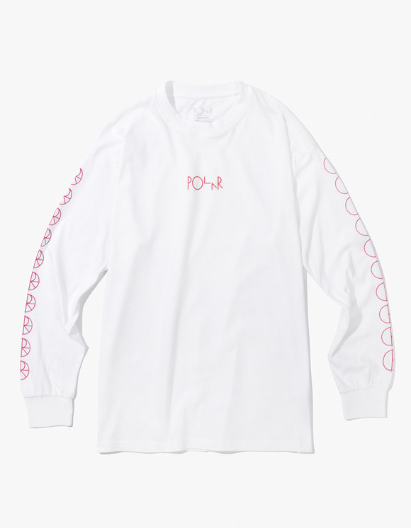 Polar Skate Co. Racing Longsleeve Tee - White/Red | HEIGHTS. Online Store