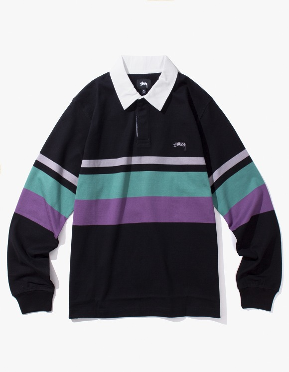 Stussy Lucas Stripe L/SL Rugby - Black | HEIGHTS. | 하이츠 온라인 스토어