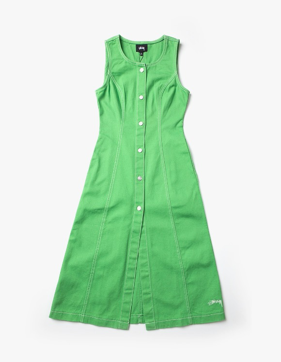 Stussy Bailey Contrast Stitch Dress - Lime | HEIGHTS. | 하이츠 온라인 스토어