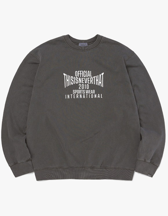 thisisneverthat Overdyed Sports Crewneck - Charcoal | HEIGHTS. | 하이츠 온라인 스토어