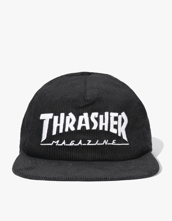Thrasher Magazine Logo Corduroy Snapback - Black | HEIGHTS. | 하이츠 온라인 스토어
