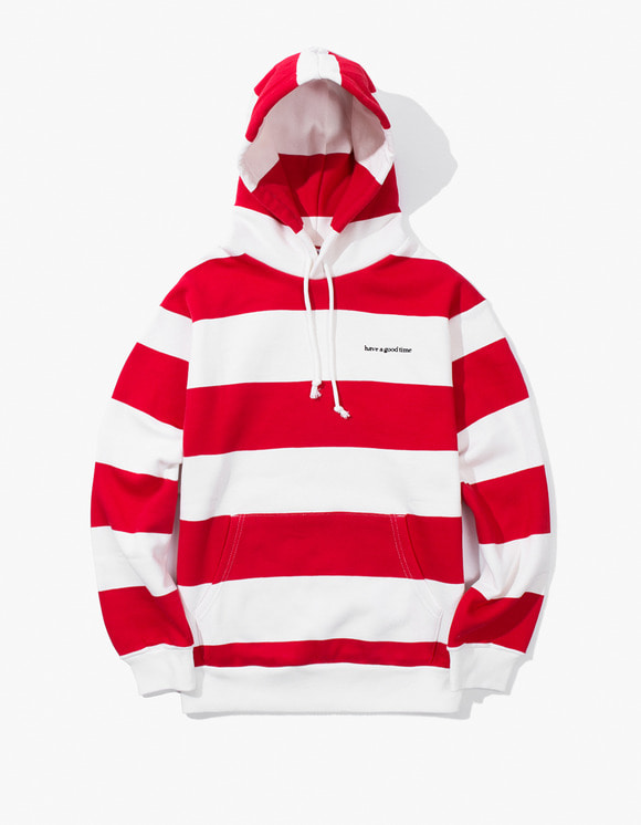 have a good time Stripe Pullover Hoodie - Red / White | HEIGHTS. | 하이츠 온라인 스토어