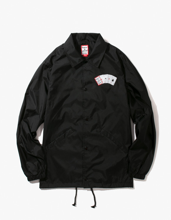 have a good time Playing Card Coach Jacket - Black | HEIGHTS. | 하이츠 온라인 스토어