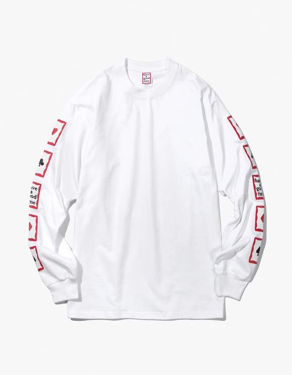 have a good time Playing Card Arm L/S Tee - White | HEIGHTS. | 하이츠 온라인 스토어