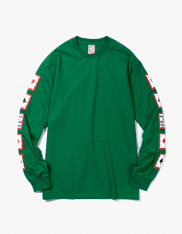 have a good time Playing Card Arm L/S Tee - Green | HEIGHTS. | 하이츠 온라인 스토어