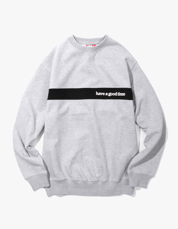 have a good time Side Logo Panel Crewneck - Heather Grey | HEIGHTS. | 하이츠 온라인 스토어
