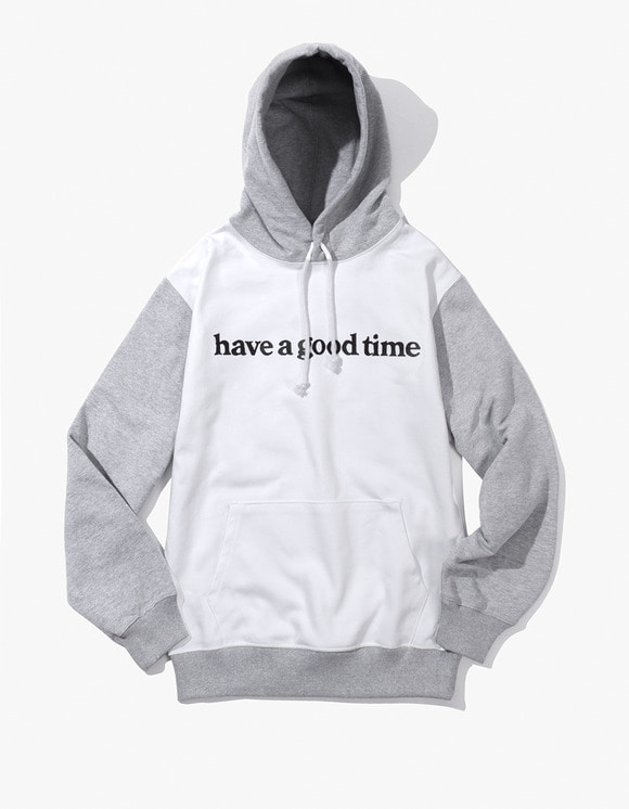 have a good time Block Pullover Hoodie - White | HEIGHTS. | 하이츠 온라인 스토어