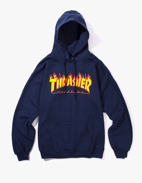 Thrasher Flame Logo Hood - Navy | HEIGHTS. | 하이츠 온라인 스토어