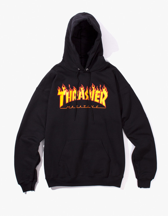 Thrasher Flame Logo Hood - Black | HEIGHTS. | 하이츠 온라인 스토어