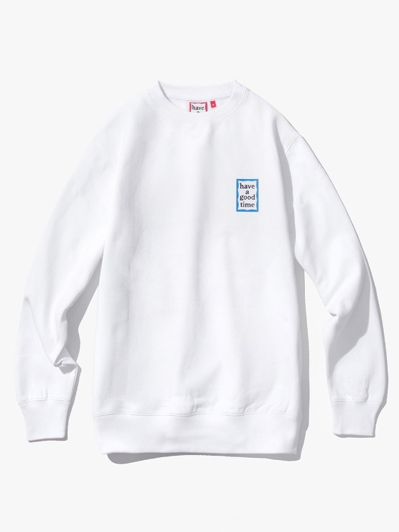 have a good time Mini Blue Frame Crewneck - White | HEIGHTS. | 하이츠 온라인 스토어