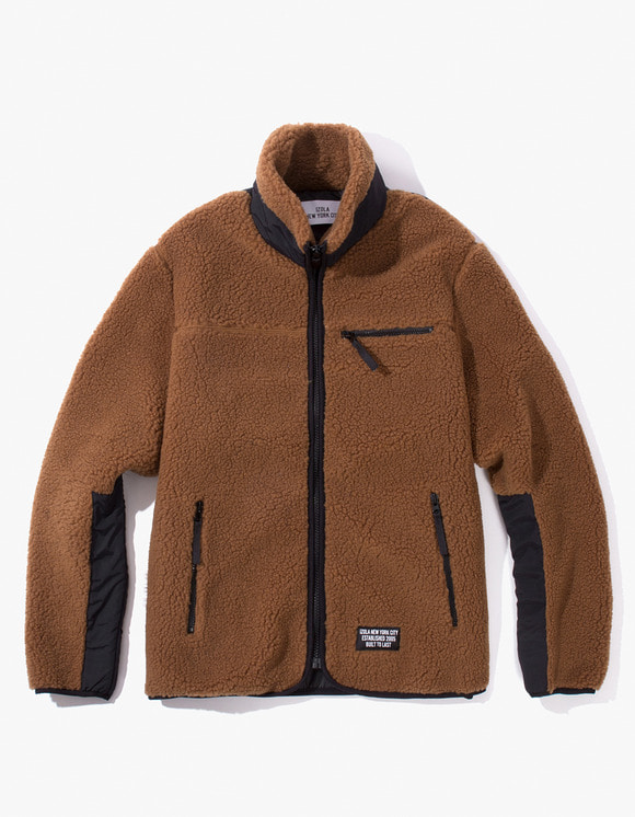 IZOLA NYC Fleece Zip-Up Jacket - Brown | HEIGHTS. | 하이츠 온라인 스토어