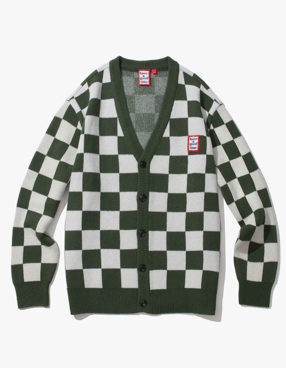 have a good time Checkerboard Cardigan - Natural/Dark Green | HEIGHTS. | 하이츠 온라인 스토어