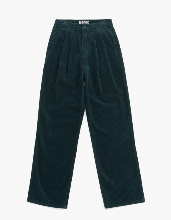 MISCHIEF Double Pleat Corduroy Trousers - Green | HEIGHTS. | 하이츠 온라인 스토어