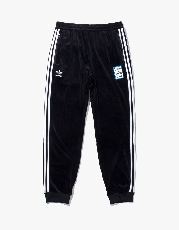 have a good time HAGT X ADIDAS Velour Track Pants - Black | HEIGHTS. Online Store