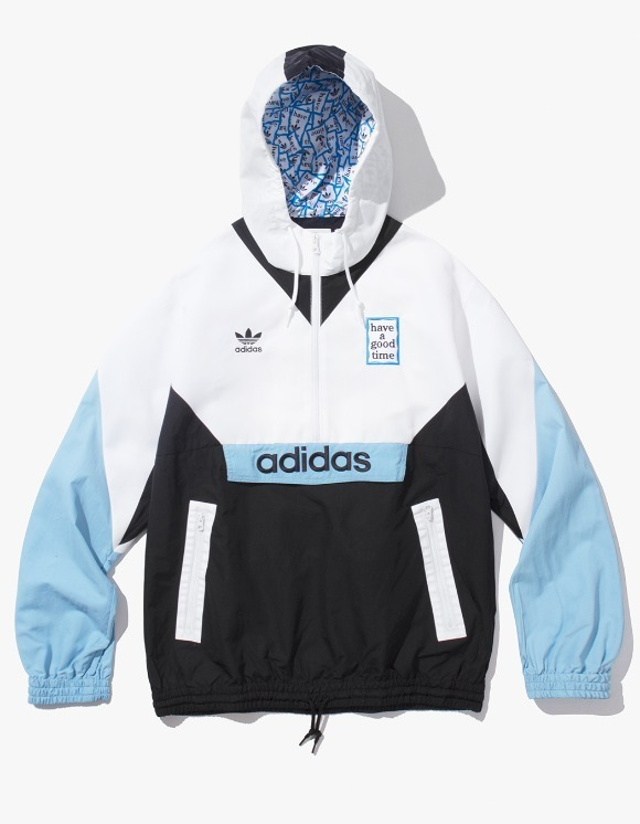 have a good time HAGT X ADIDAS Pullover Windbreaker - White/Black/Blue | HEIGHTS. Online Store