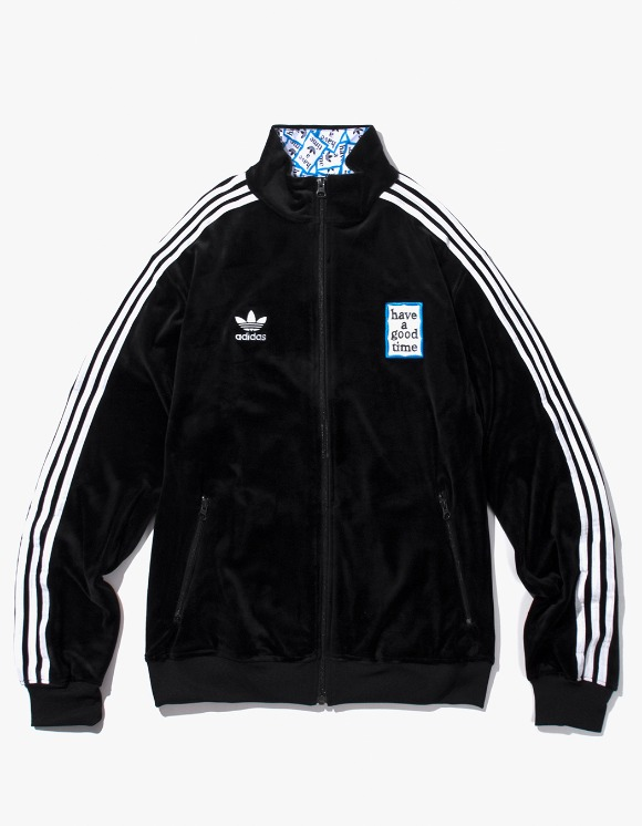 have a good time HAGT X ADIDAS Velour Track Top - Black | HEIGHTS. Online Store