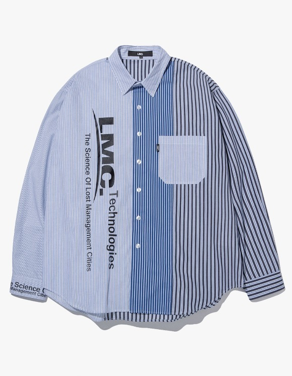LMC LMC MIXED STRIPE SHIRT blue | HEIGHTS. | 하이츠 온라인 스토어