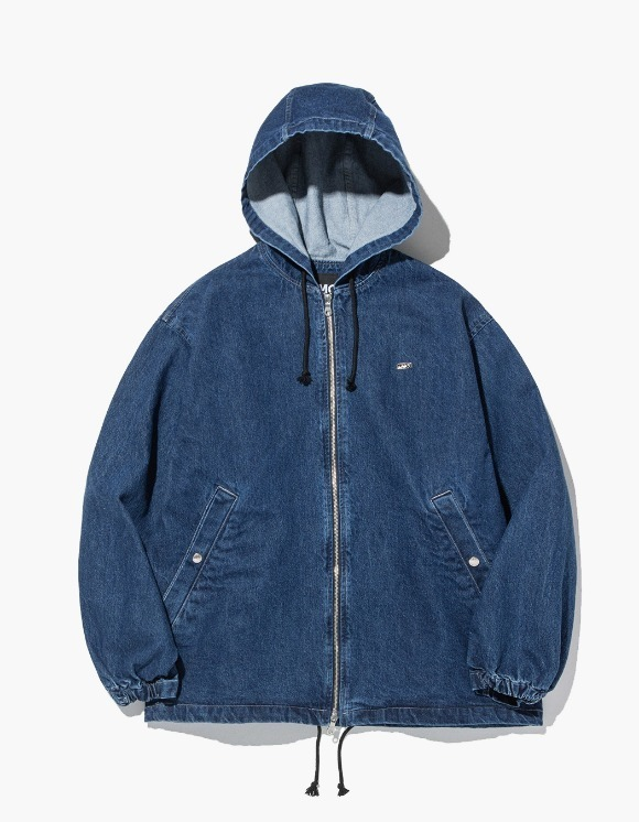 LMC LMC STONE WASHED DENIM HOODIE JACKET blue | HEIGHTS. Online Store