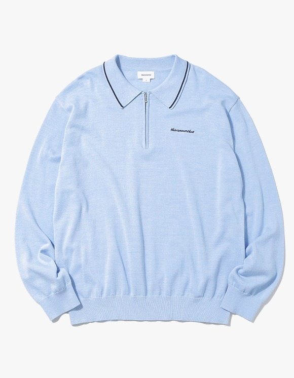 thisisneverthat SCRT ZIP Knit Polo - Sky Blue | HEIGHTS. | 하이츠 온라인 스토어
