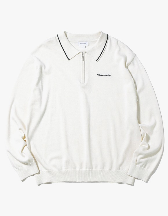 thisisneverthat SCRT ZIP Knit Polo - Ivory | HEIGHTS. | 하이츠 온라인 스토어
