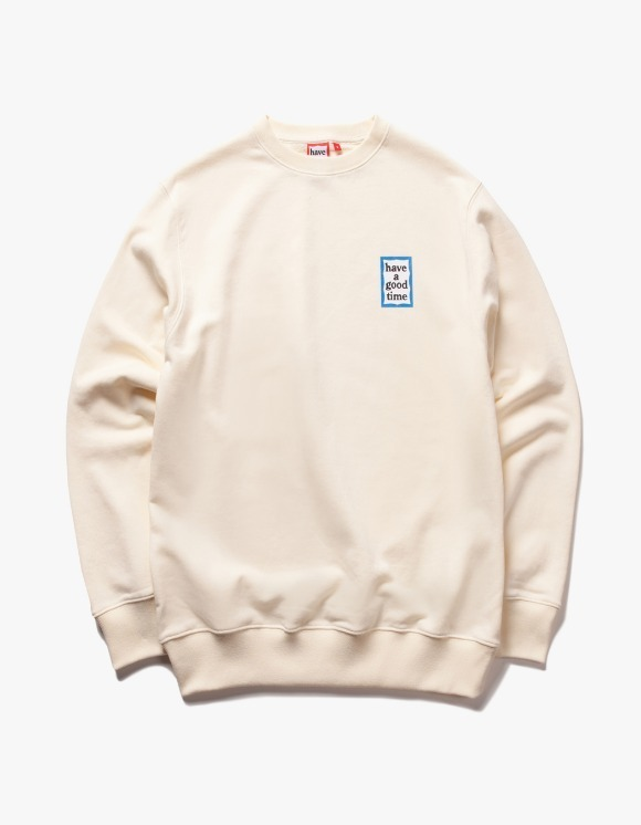 have a good time Mini Blue Frame Crewneck - Cream | HEIGHTS. | 하이츠 온라인 스토어