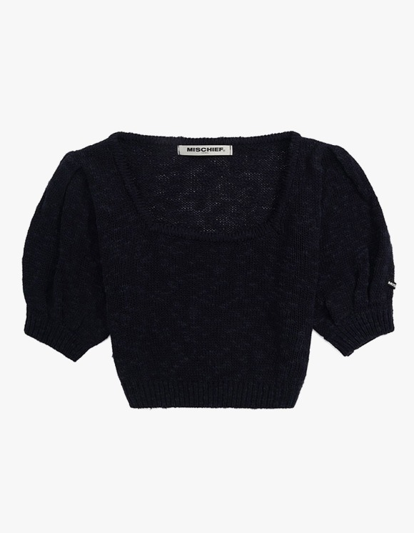 MISCHIEF Puff Sleeve Knit Top - Navy | HEIGHTS. | 하이츠 온라인 스토어