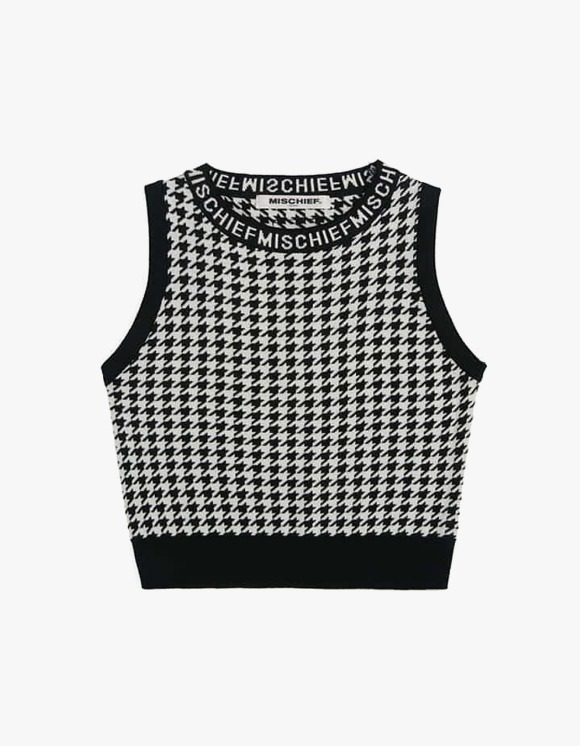 MISCHIEF Houndstooth Knitted Top - Black/White | HEIGHTS. | 하이츠 온라인 스토어