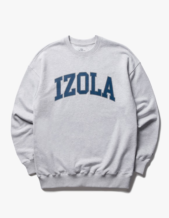 IZOLA NYC Arch Logo Crewneck - Ash Grey | HEIGHTS. | 하이츠 온라인 스토어