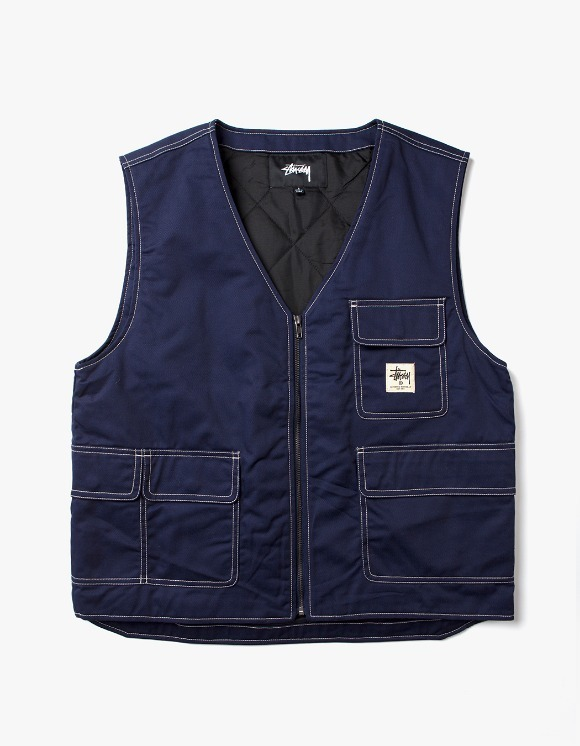 Stussy Poly Cotton Work Vest - Navy | HEIGHTS. | 하이츠 온라인 스토어