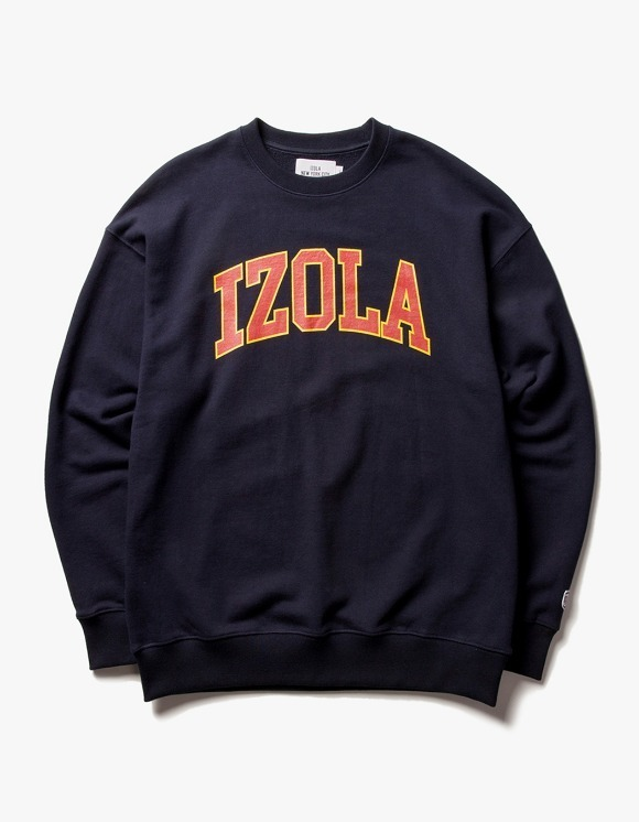 IZOLA NYC Arch Logo Crewneck - Navy | HEIGHTS. | 하이츠 온라인 스토어