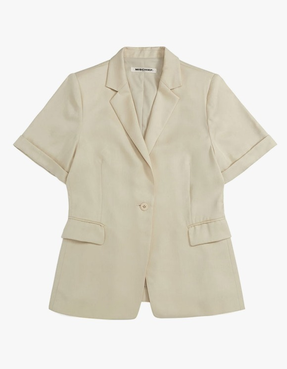 MISCHIEF Tencel Cuffed Short Sleece Blazer - Ivory | HEIGHTS. | 하이츠 온라인 스토어