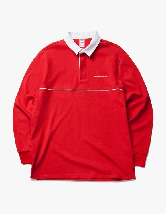 have a good time Piping Rugby L/S shirt - Red | HEIGHTS. | 하이츠 온라인 스토어