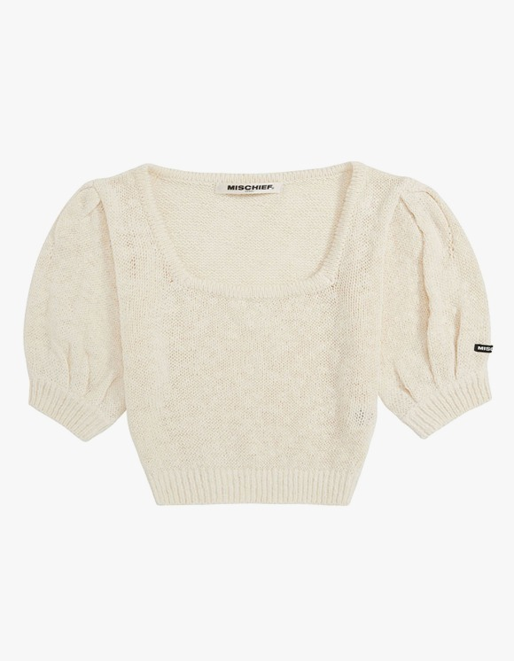 MISCHIEF Puff Sleeve Knit Top - Cream | HEIGHTS. | 하이츠 온라인 스토어