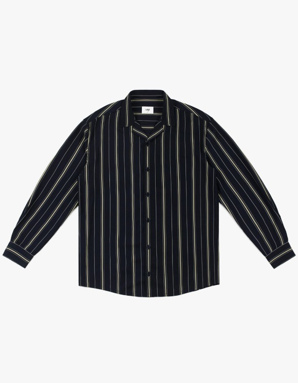 CLIF Stripe Open Collar Shirt - Navy | HEIGHTS. | 하이츠 온라인 스토어