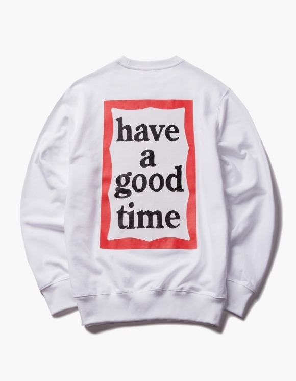 have a good time Back Print Frame Crewneck - White | HEIGHTS. | 하이츠 온라인 스토어