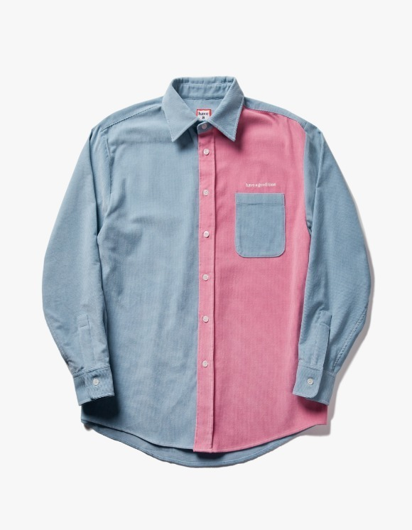 have a good time Corduroy Work L/S Shirt - Light Blue/Baby Pink | HEIGHTS. | 하이츠 온라인 스토어