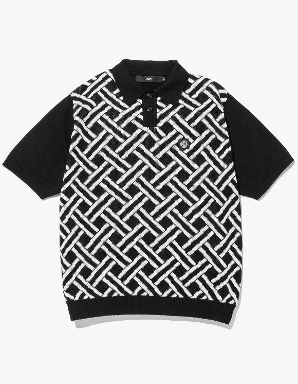 LMC LMC WEAVING PTTN KNIT POLO SHIRT black | HEIGHTS. | 하이츠 온라인 스토어