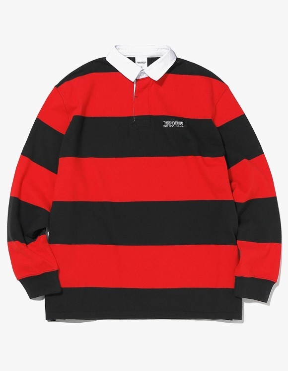 thisisneverthat Striped Rugby Shirt - Black/Red | HEIGHTS. | 하이츠 온라인 스토어