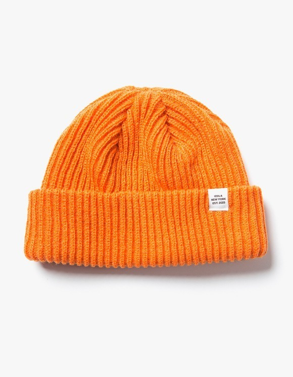 IZOLA NYC Logo Short Beanie - Orange | HEIGHTS. | 하이츠 온라인 스토어