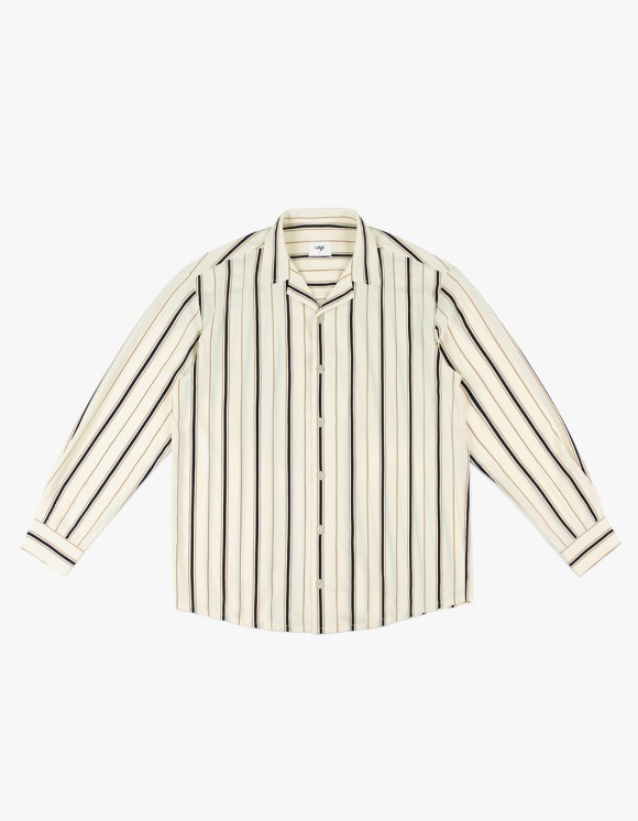 CLIF Stripe Open Collar Shirt - Ivory | HEIGHTS. | 하이츠 온라인 스토어