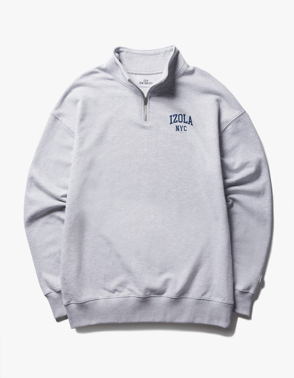 IZOLA NYC Arch Logo Half Zip Up Crewneck - Ash Grey | HEIGHTS. | 하이츠 온라인 스토어