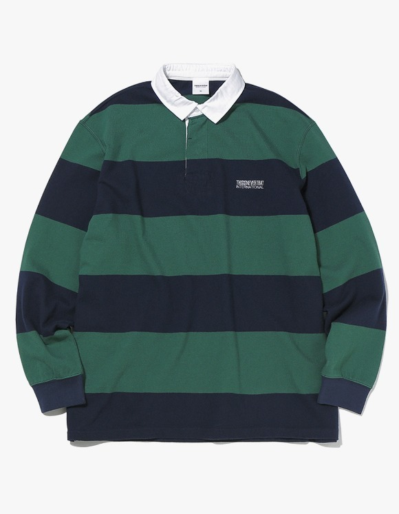 thisisneverthat Striped Rugby Shirt - Navy/Green | HEIGHTS. | 하이츠 온라인 스토어