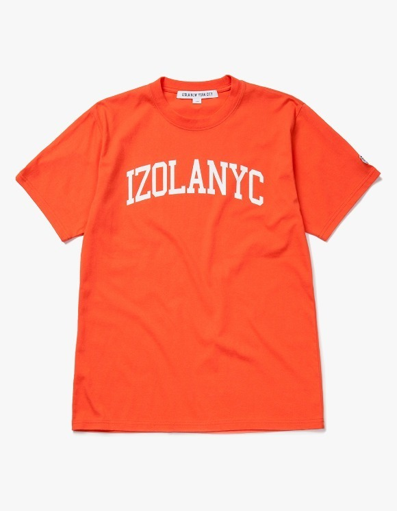 IZOLA NYC College Logo S/S Tee - Orange | HEIGHTS. | 하이츠 온라인 스토어