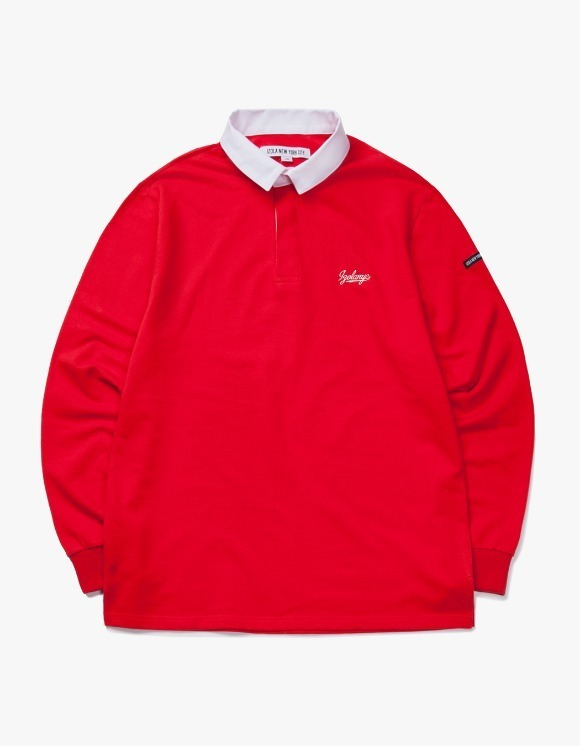 IZOLA NYC Varsity L/S Rugby Tee - Red | HEIGHTS. | 하이츠 온라인 스토어