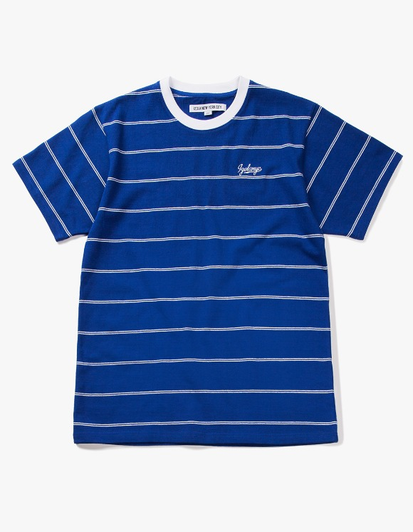 IZOLA NYC Pin Stripe S/S Tee - Blue | HEIGHTS. | 하이츠 온라인 스토어