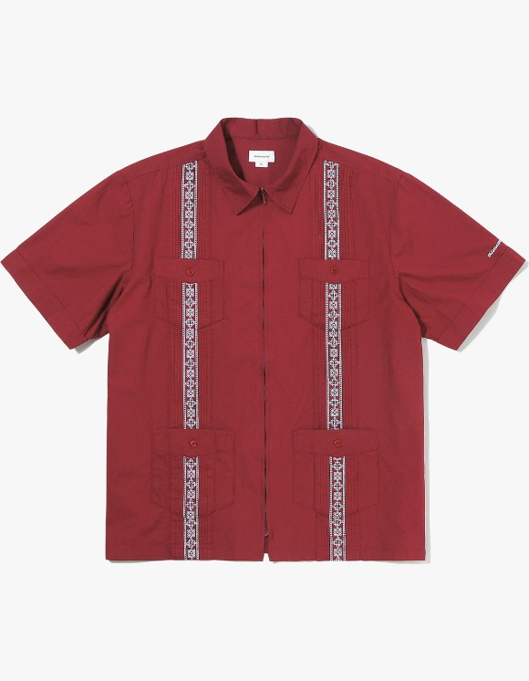 thisisneverthat TINT Pin Tuck Zip Up Shirt - Burgundy | HEIGHTS. | 하이츠 온라인 스토어